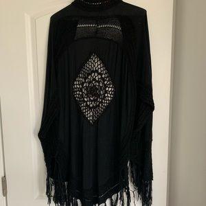 black boho tassel cardigan or cover up